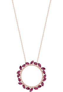 Pingente Em Ouro Rosé 18K Com Diamante, Rubi - Sedução