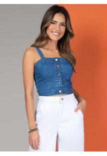 Blusa Jeans Curtinha Com Botões Na Frente