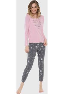 Pijama Malwee Liberta Diamond Rosa/Cinza