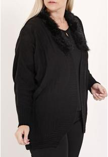 Cardigan Tricot Plus Size Feminino Preto