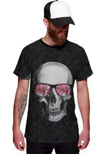 Camiseta Di Nuevo Skull Caveira Com Oculos Floral Cinza