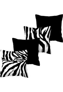 Kit Com 4 Capas Para Almofadas De Zebra Armonizzi