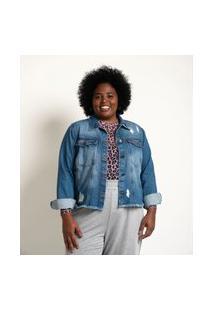 Jaqueta Jeans Lisa Com Puidos E Barra Desfiada Azul