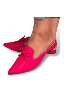 Mule Feminino Sapatilha Napa Rasteira Rasteirinha Bico Fino Moda Pink Eleganteria