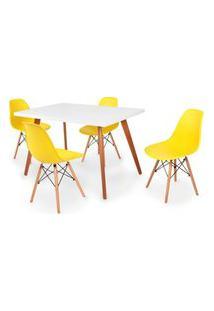 Conjunto Mesa De Jantar Gih 120X80Cm Branca Com 4 Cadeira Eames Eiffel - Amarelo