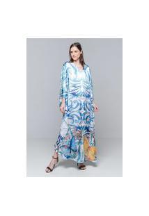 Vestido Longo Kaftan 101 Resort Wear Cetim Borboletas Azul Branco