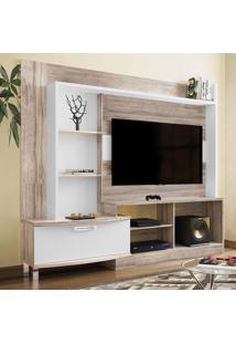 Estante Para Tv New Lavínia Até 55'' Castanha Rústico/Branco - Colibri Móveis