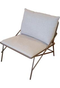 Poltrona Industrial Vini Assento Estofado Fendi Com Base Aco Cor Ouro Envelhecido - 55338 Sun House