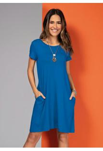 Vestido Com Bolsos Azul Com Mangas Curtas