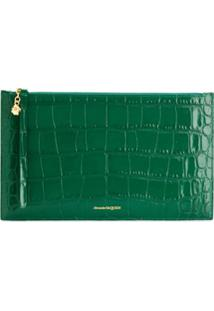 Alexander Mcqueen Crocodile Effect Clutch Bag - Verde