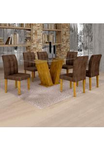 Conjunto De Mesa De Jantar Classic Com 6 Cadeiras Vitória Veludo Ypê E Marrom
