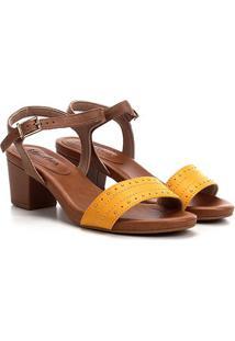 Sandália Usaflex Salto Grosso Multi Metais Feminina - Feminino-Amarelo