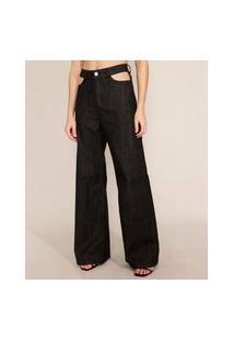 Calça Wide Pantalona Jeans Com Vazado Cintura Alta Mindset Preta