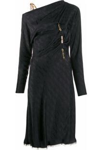 Versace Vestido Midi De Cetim - Preto