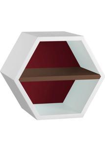 Nicho Hexagonal Favo Ii Com Prateleira Branco Com Bordo E Marrom Escuro