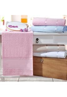 Toalha Rosto Ponto Russo Rosa - Kit Com 4 Unidades