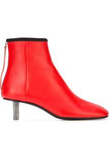 Calvin Klein 205W39Nyc Bota De Couro Com Aplicações No Salto - Vermelho