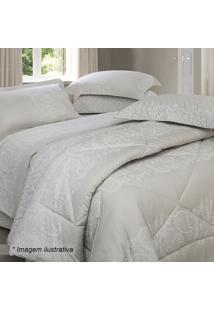 Edredom Renda King Size- Bege & Branco- 250X290Cm