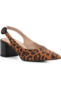 Scarpin Couro Shoestock Salto Baixo Wild