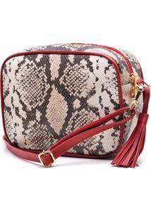 Bolsa De Couro Hendy Bag Quadrada Cobra Branca Com Vermelho - Kanui