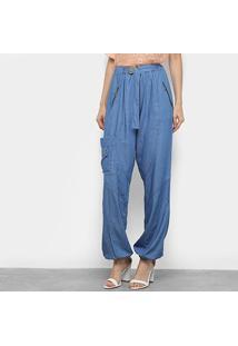 Calça Pantalona Vide Bula Jeans Cinto Cintura Alta Feminina - Feminino