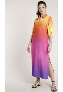 Vestido Chemise Feminino Triya Longo Estampado Degradê Sunset Manga 3/4