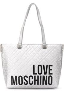 Love Moschino Diamond-Quilt Logo Tote Bag - Prateado