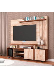 Estante Para Home Theater E Tv 50 Polegadas Valencia Rústico E Café 160 Cm