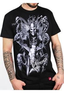 Camiseta Motoqueiro Caveira - Masculino