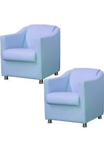 Kit 02 Poltronas Decorativas Para Sala E Escritório Laura L02 Corino Azul - Lyam Decor