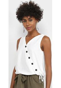 Regata Lily Fashion Transpasse Botões Feminina - Feminino-Branco