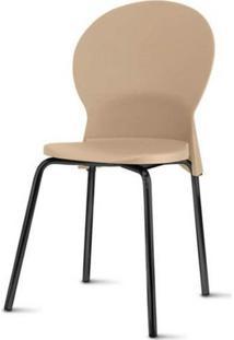 Cadeira Luna Assento Bege Base Preta - 53833 - Sun House