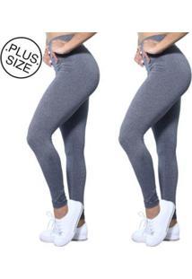 Kit 2 Leggings Plus Size Heide Ribeiro Leg Basic Suplex Barato Feminino - Feminino-Cinza