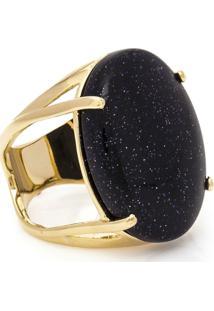 Anel Banho De Ouro Oval Pedra Estrela - Feminino-Azul Escuro