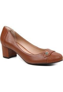 Scarpin Couro Shoestock Snake Salto Bloco Médio - Feminino-Marrom