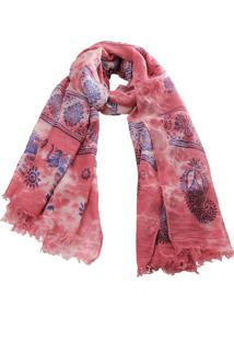 Lenço Real Arte Estampa Elefantes Tie-Dye Vermelho