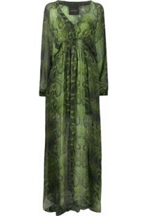 John Richmond Vestido Longo De Seda Com Estampa De Pele De Cobra - Verde