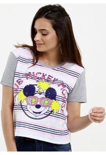 Blusa Feminina Cropped Neon Estampa Mickey Disney