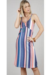 Vestido Feminino Curto Listrado Alça Fina Azul
