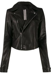 Rick Owens Calf Leather Biker Jacket - Preto