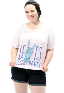 Camiseta Lets Go Party Plus Size Branco