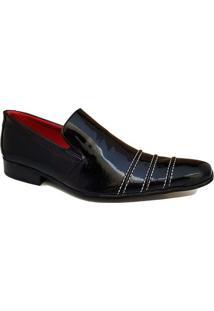 Sapato Social Couro Pórtice Eláticos Verniz Masculino - Masculino-Preto