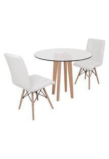 Conjunto Mesa De Jantar Em Vidro 90Cm Com Base Vértice + 2 Cadeiras Gomos - Branco