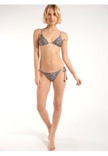Calcinha Rosa Chá Basic Snake Beachwear Estampado Feminina (Estampado, G)