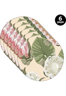 Capa Para Sousplat Mdecore Floral Bege 6Pçs