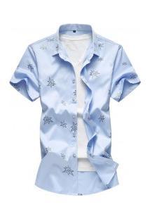 Camisa Masculina Com Estampa De Estrelas - Azul Claro