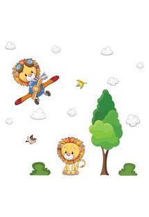 Adesivo De Parede Árvore E Leáo Baby Infantil