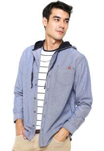 Camisa Hering Regular Capuz Azul