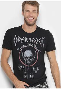 Camiseta Opera Rock Estampa Caveira Masculina - Masculino-Preto