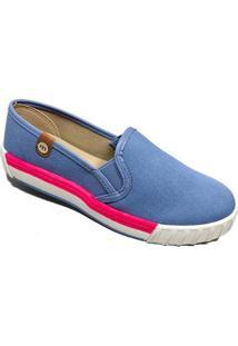 Slipper Moleca Lona Diamante Jeans Feminino - Azul - 36 - Feminino-Azul